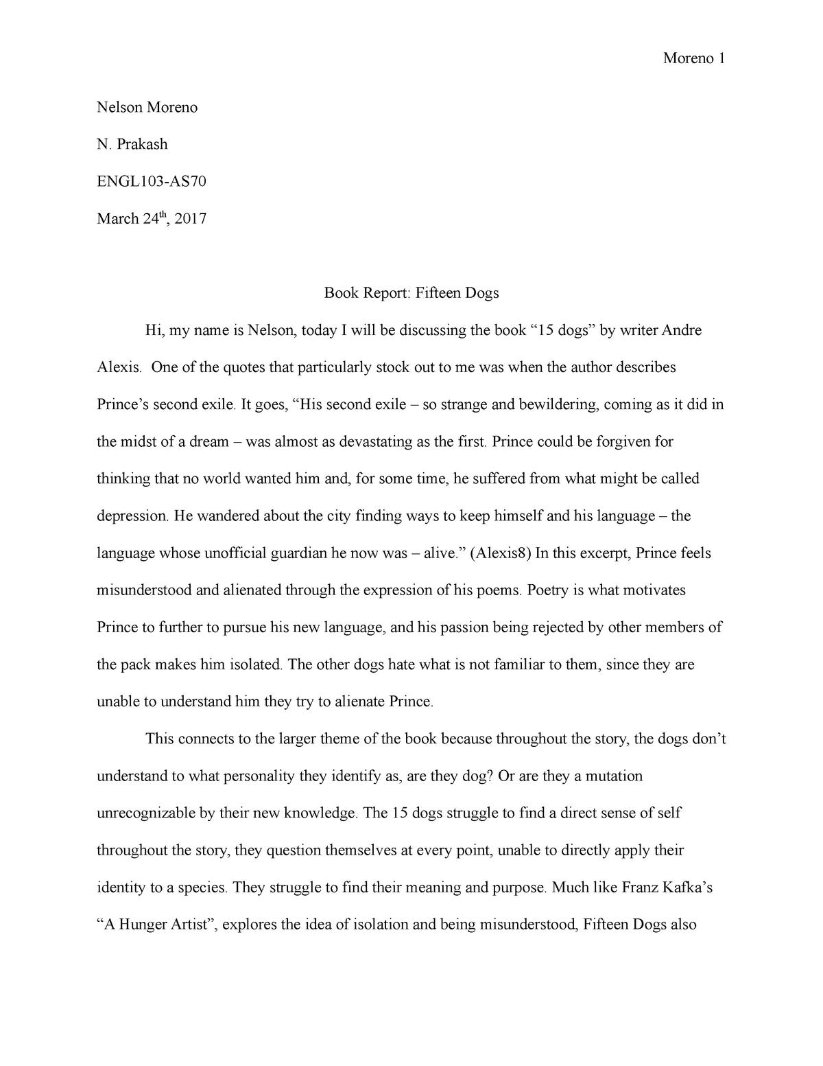 Book Report - Fifteen Dogs - ENGL103 English 103 - MacEwan