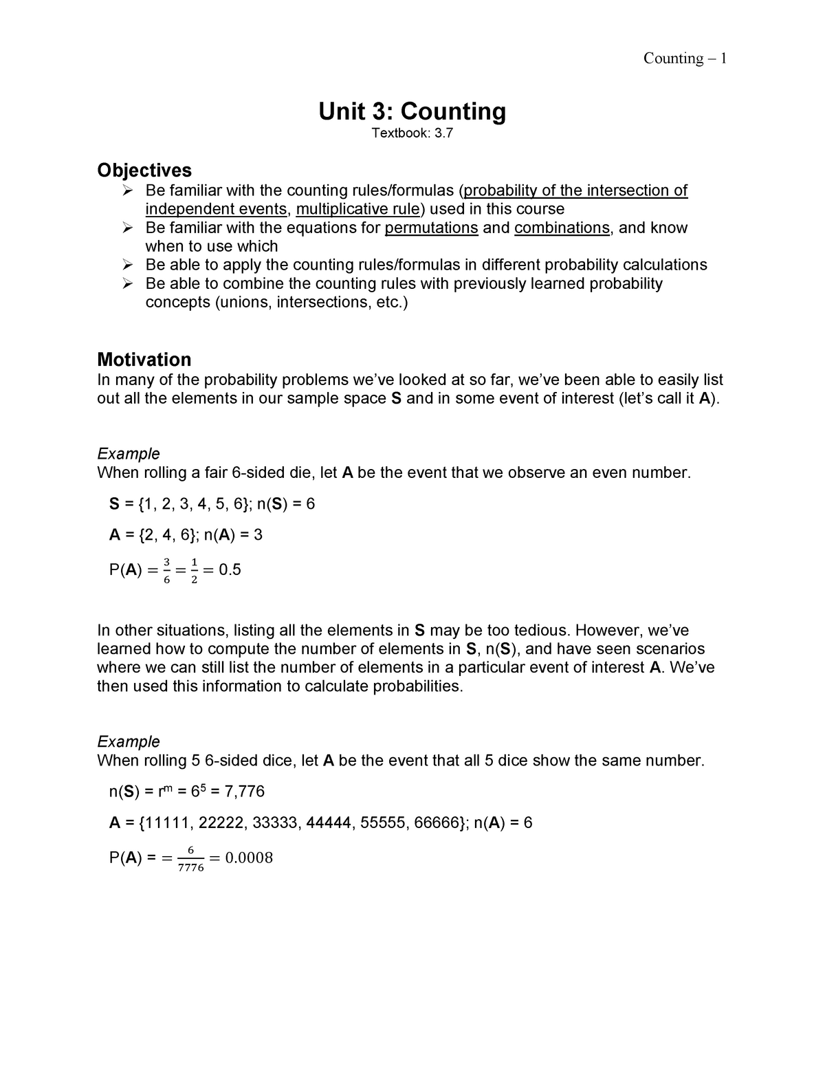 Unit 3 - Counting - Lecture notes 3 - Statistics 213 - StuDocu
