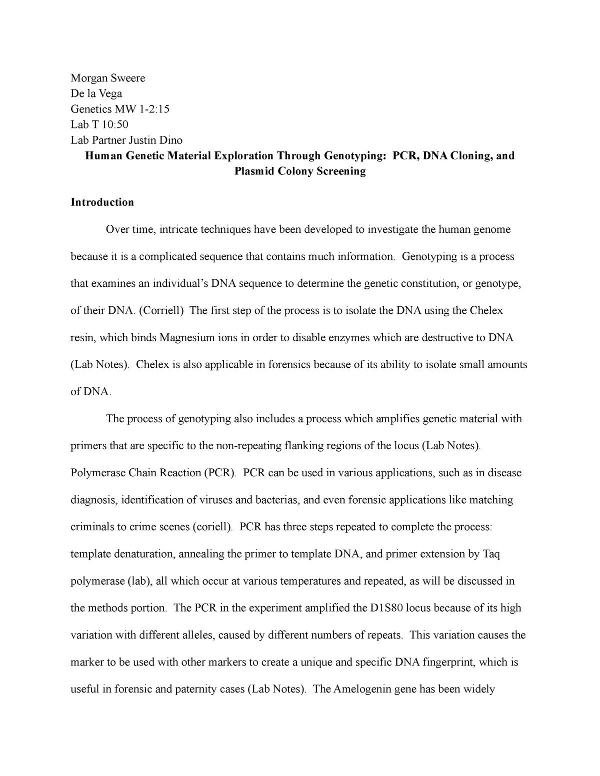 Lab Report Grade A Biol 2490 Genetics Studocu