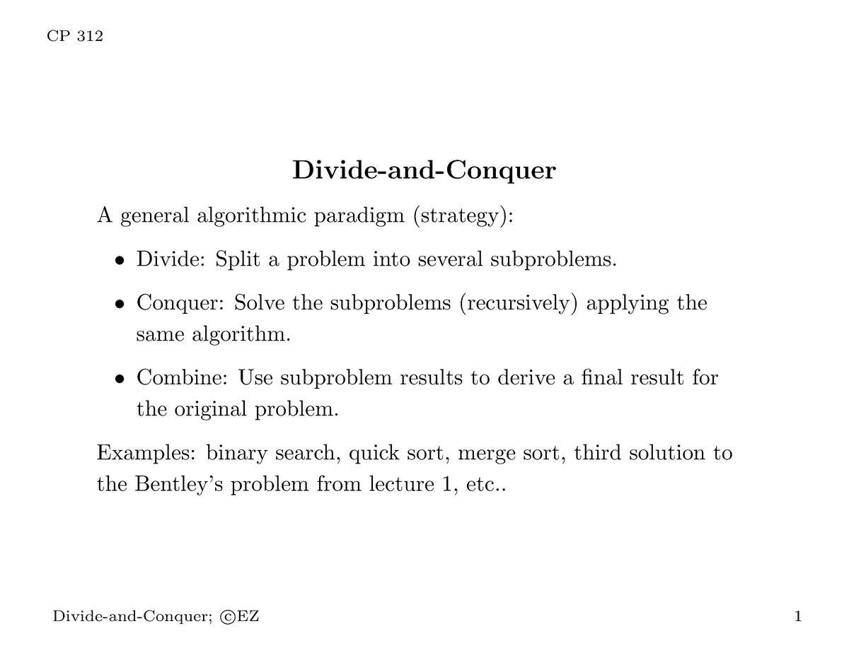 Week 4 Algorithm Note - CP312 - WLU - StuDocu