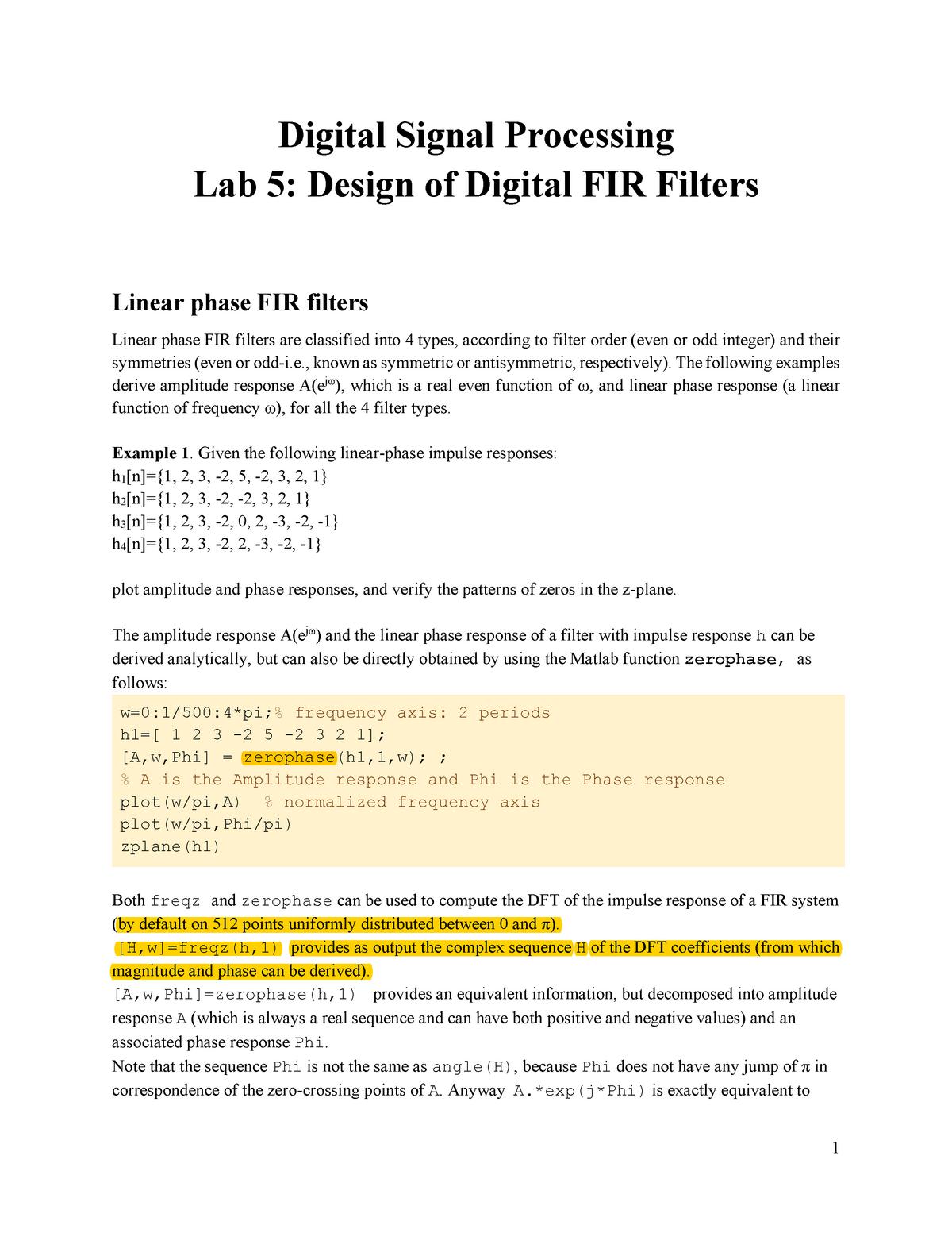 DSP Lab 5 FIR - lab - 140124: Digital signal processing