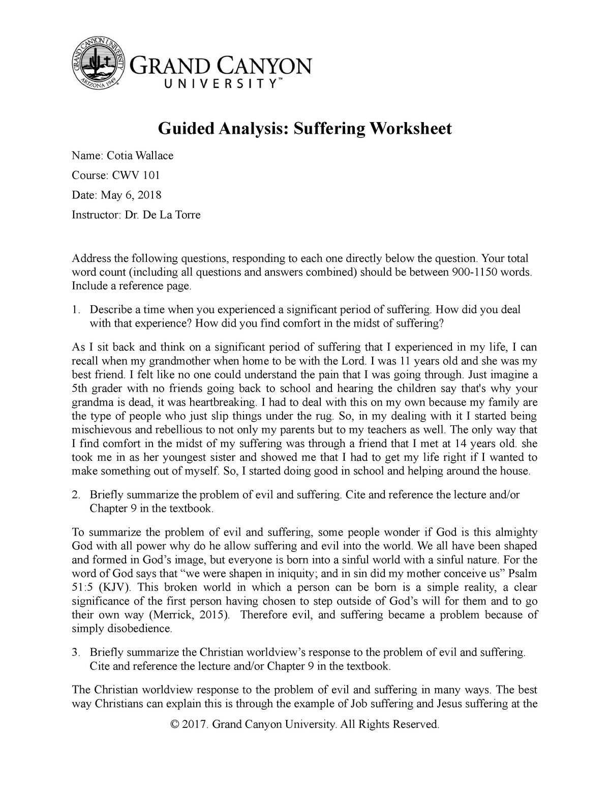 CWV 101 RS T6Guided Analysis Suffering Worksheet - CWV 101