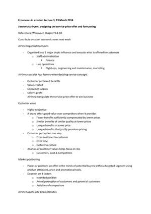 Lecture notes, Economics Aviation, Lecture 3-12 - 3513BPS