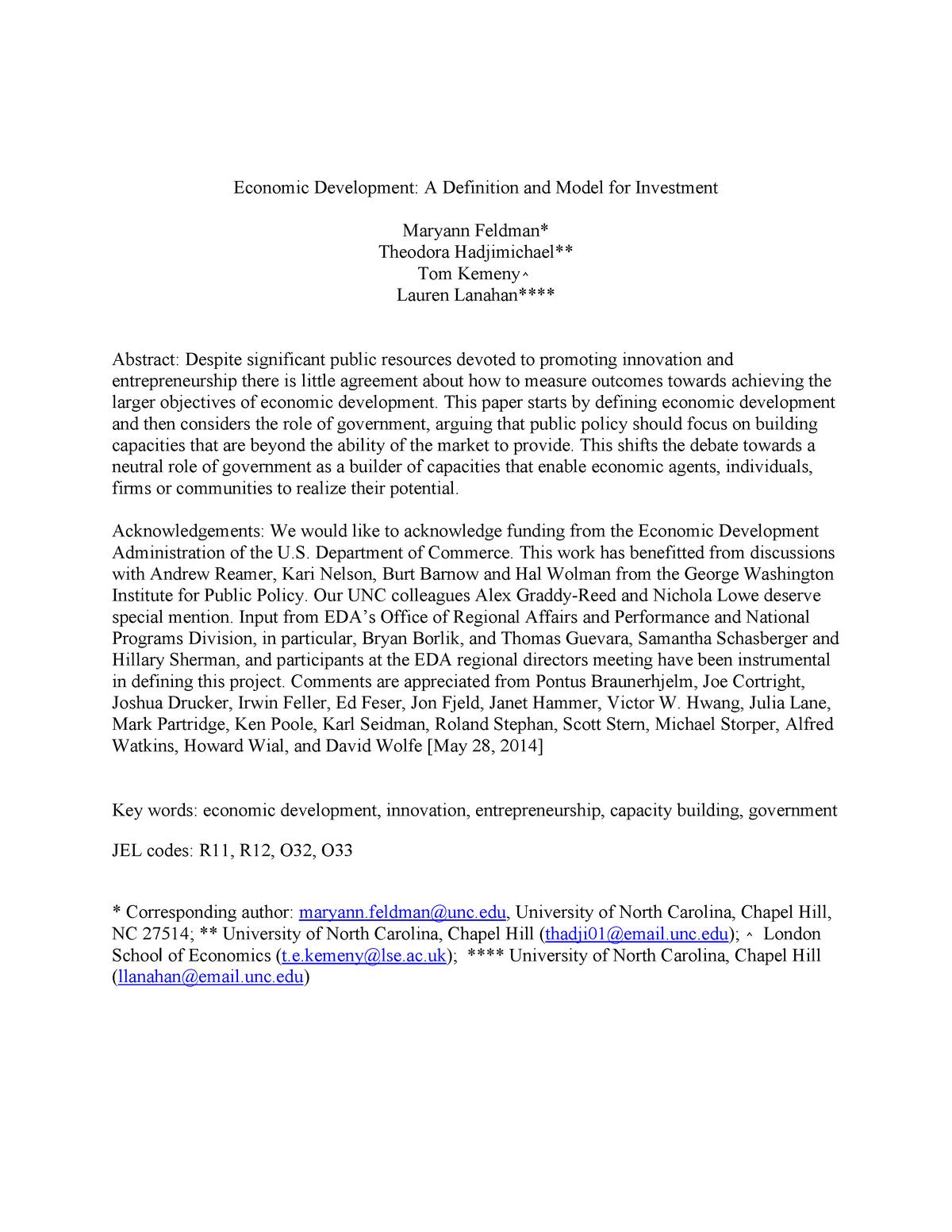 Investment-definition-model - ECON313: Economic Development