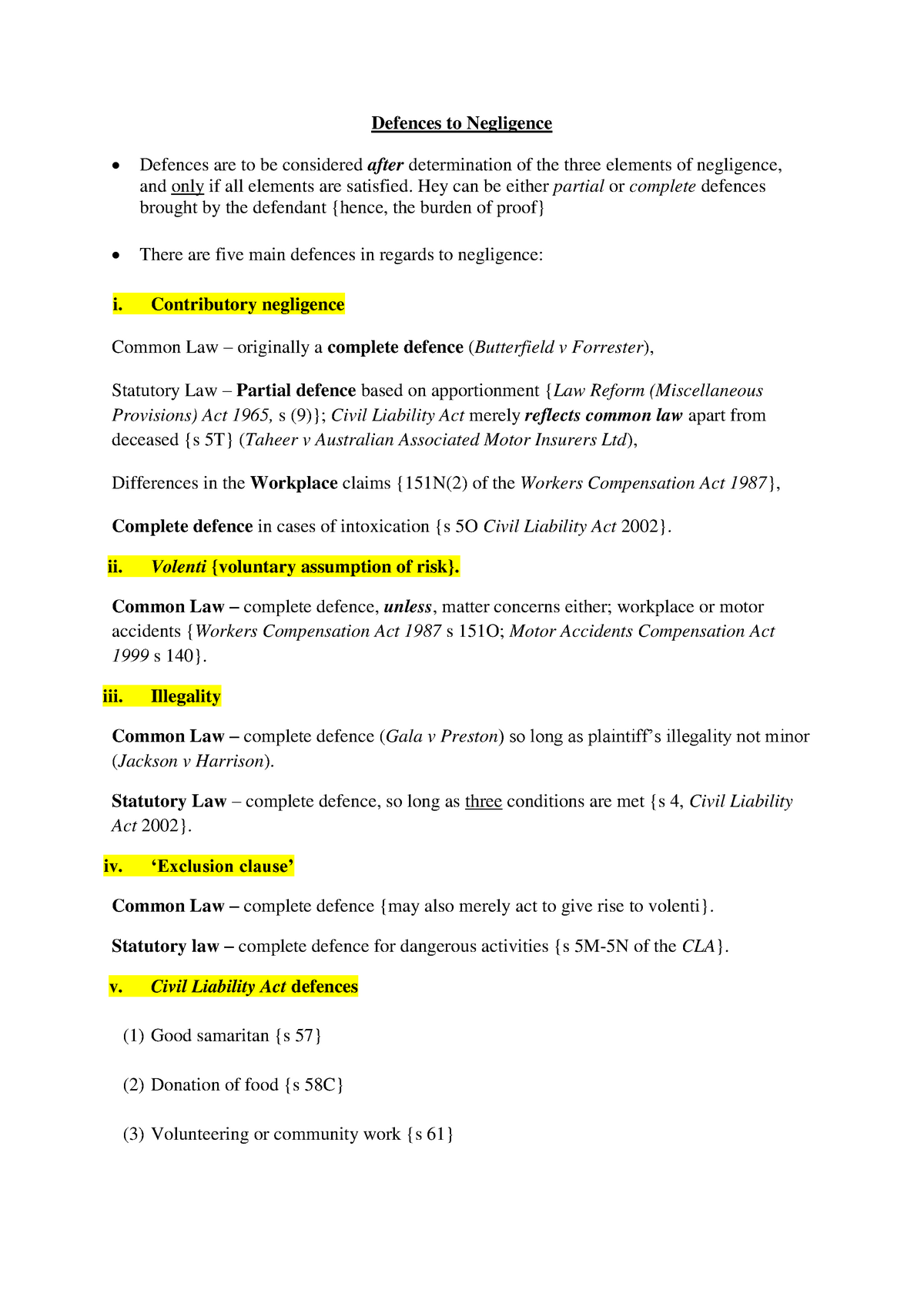 Lecture notes, defences - LAWS1003B Torts - Part B - UoN