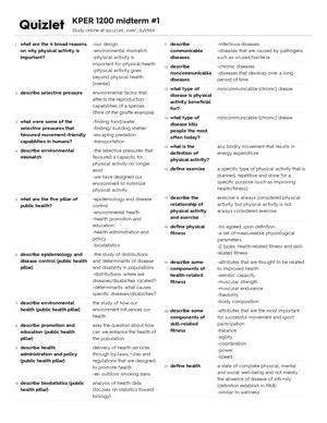 Quizlet - KPER 1200: KPER 1200 - StuDocu