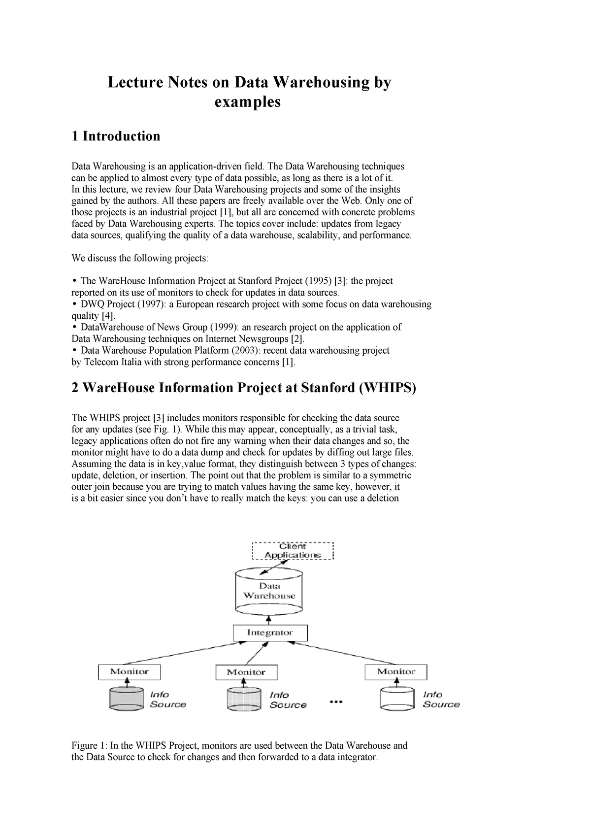 Lecture Notes on Data Warehousing by examples - MMIS 0642