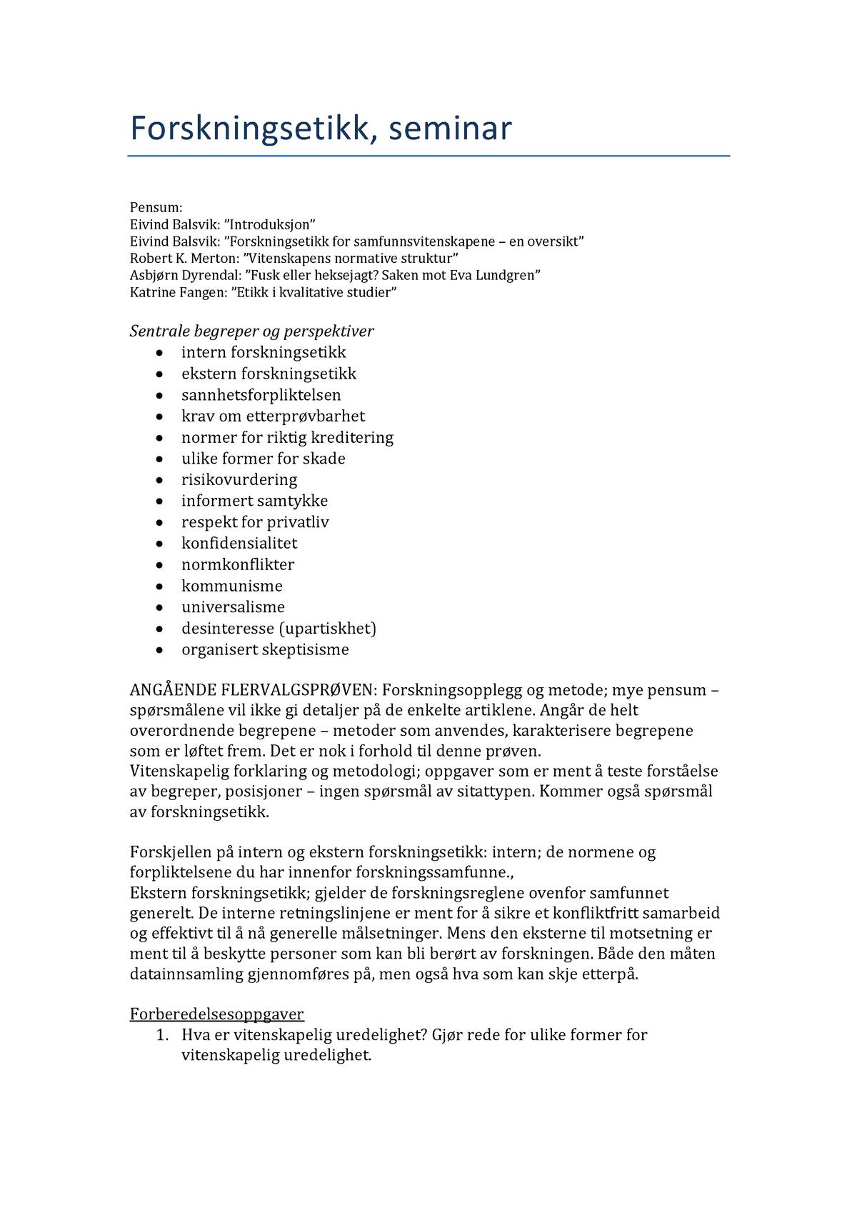 2101afde Forskningsetikk, seminar 1 - SVEXFAC03: Examen Facultatum -  Samfunnsvitenskapelig variant - StuDocu
