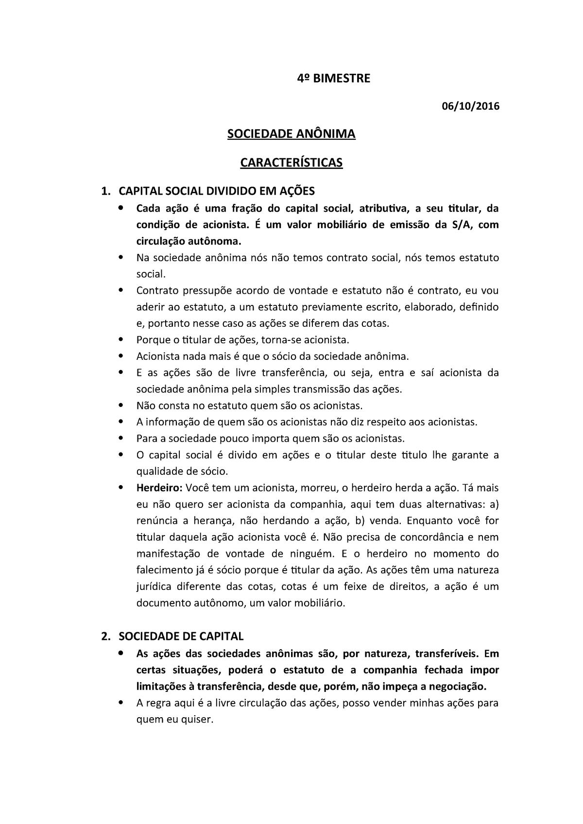 Direito SocietáRIO 4º bimestre - UP - StuDocu