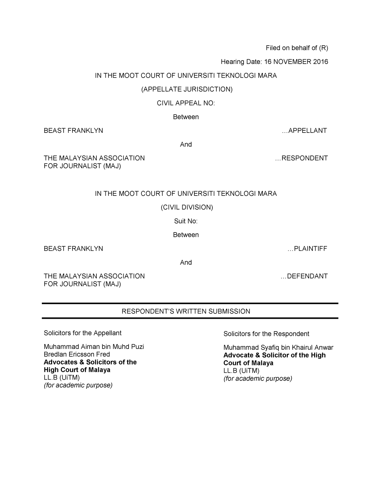 Written Submission - Pleadings - Respondent - LAW 600 - UiTM