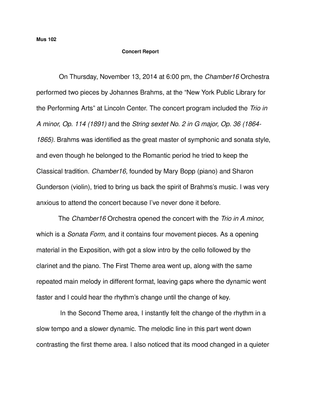 concert report essay for my music class