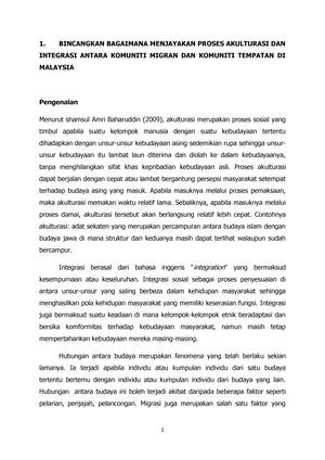 Proses Akulturasi Integrasi Migran Di Malaysia Sociology Studocu