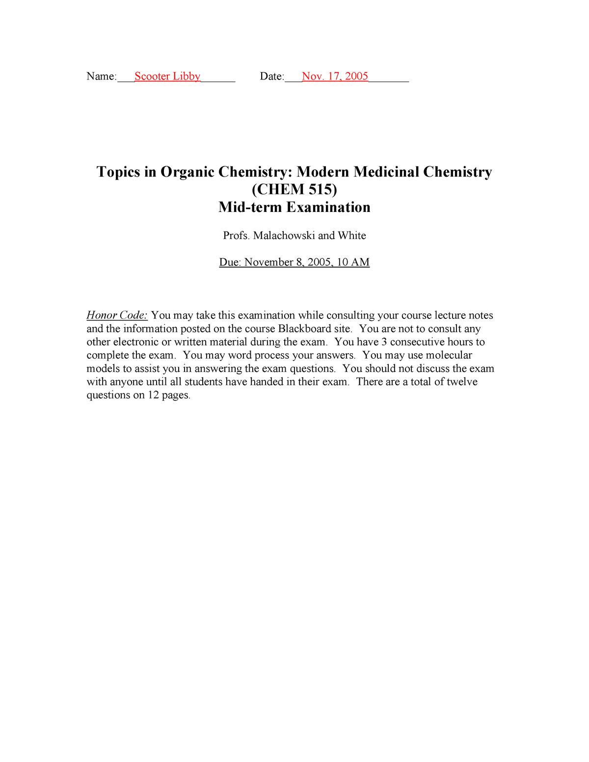 Exam 2005 - CS0515: Medicinal Chemistry - StuDocu