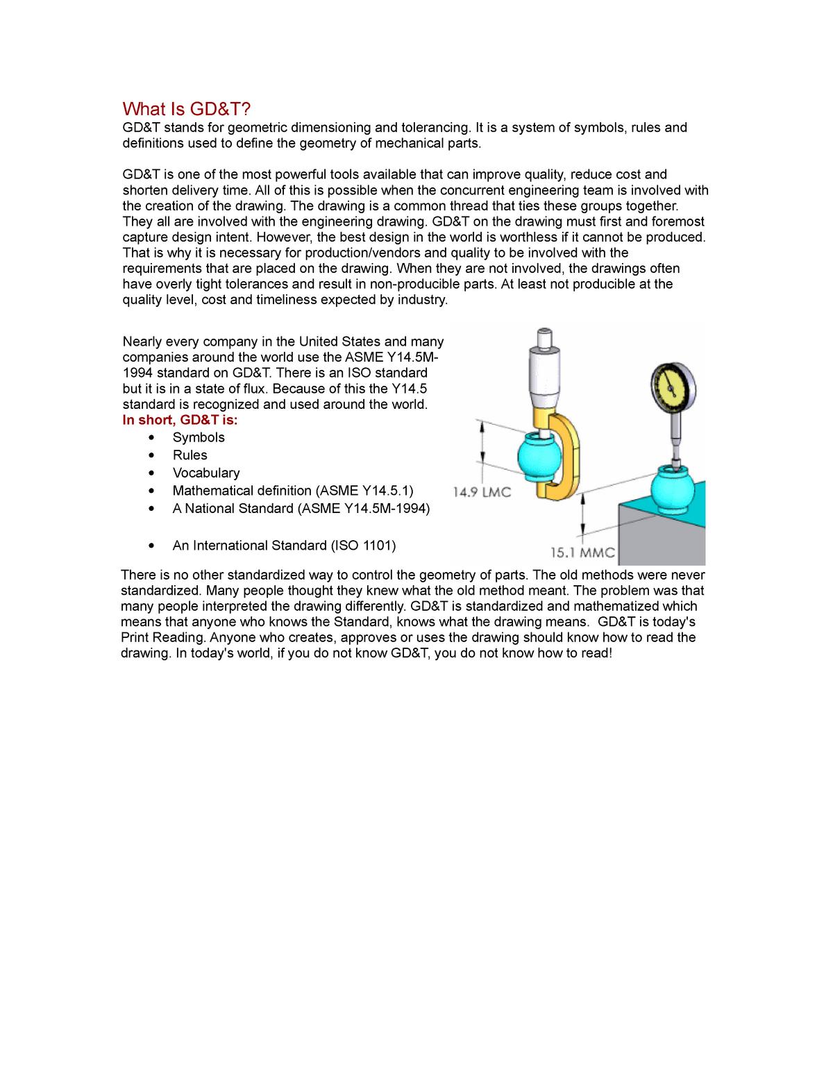 What is GD & T? - Mechanics 122 - StuDocu