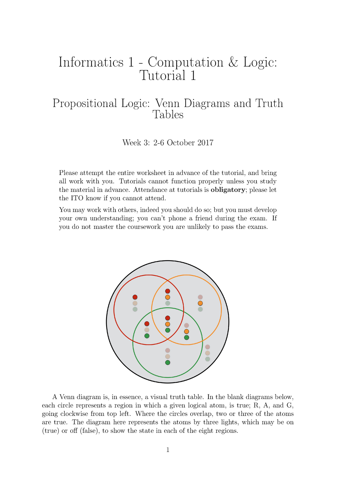 tutorial 1 - propositional logicvenn diagrams and truth tables -  computation and logic - studocu