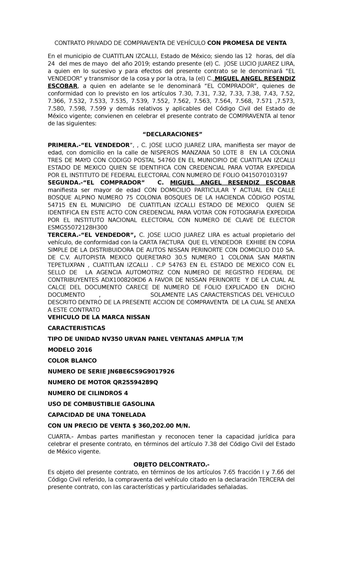 Contrato Privado De Compraventa De Vehículo Studocu