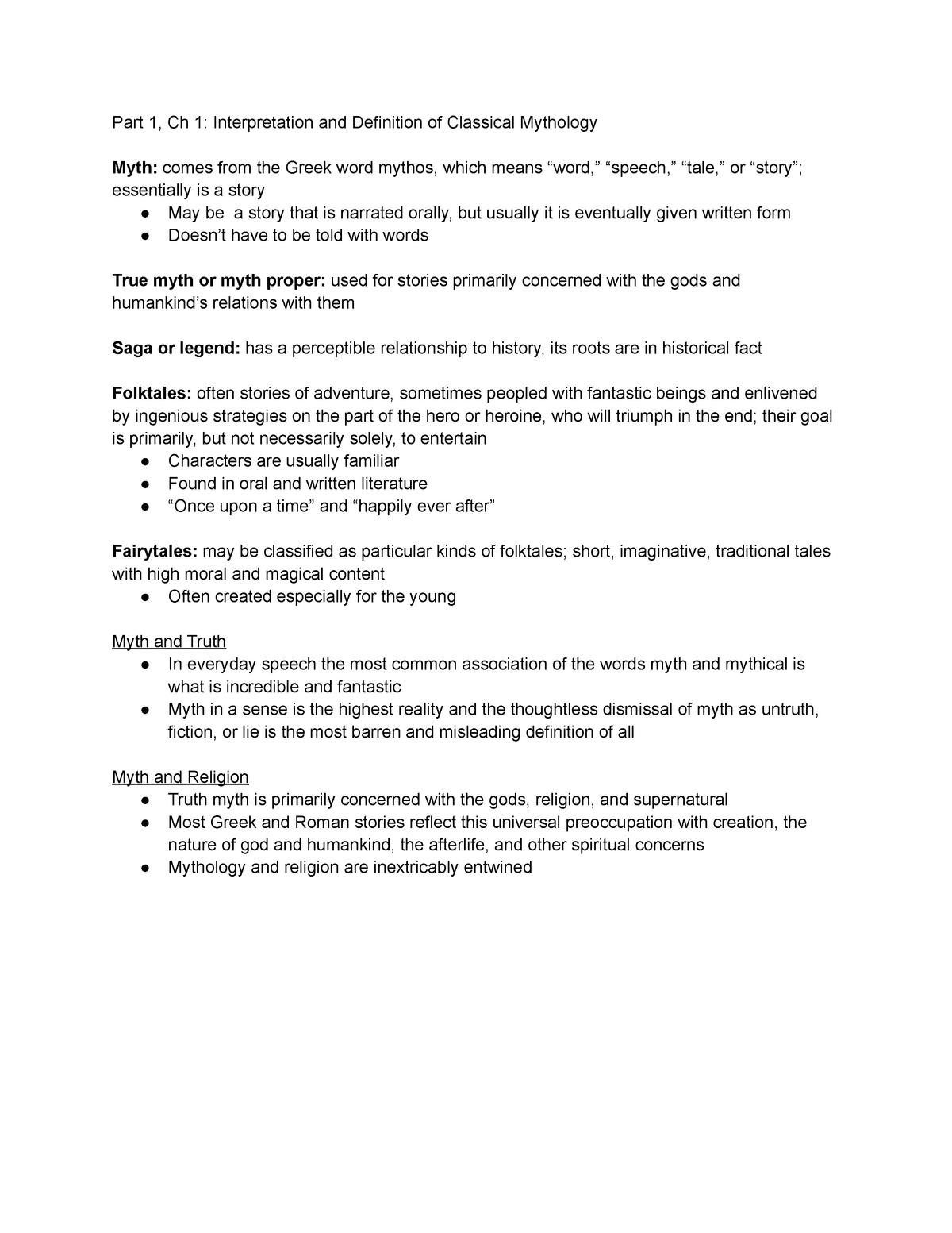 CH 1 Book Notes - Summary Classical Mythology - CMLT316