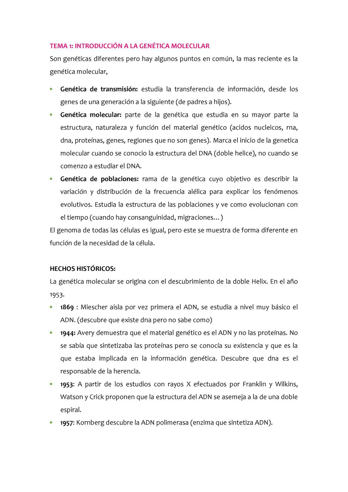 Tema 1 Apunts Nets Apuntes 1 Genètica Molecular 100776