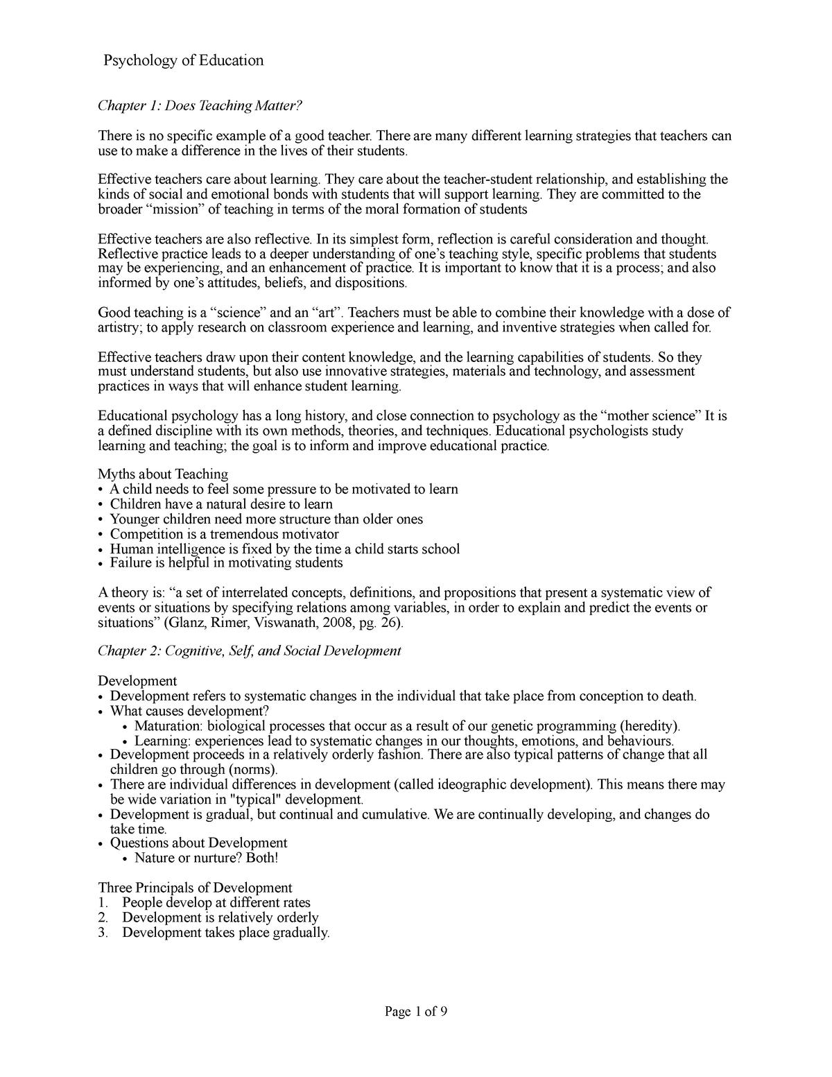 Psychology Of Education - Course Summary - PSYC-3406EL