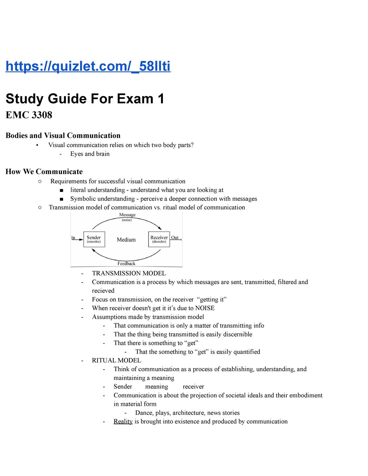 EMC 3308 - Test 1 Review - EMC 3308: Visual Communications