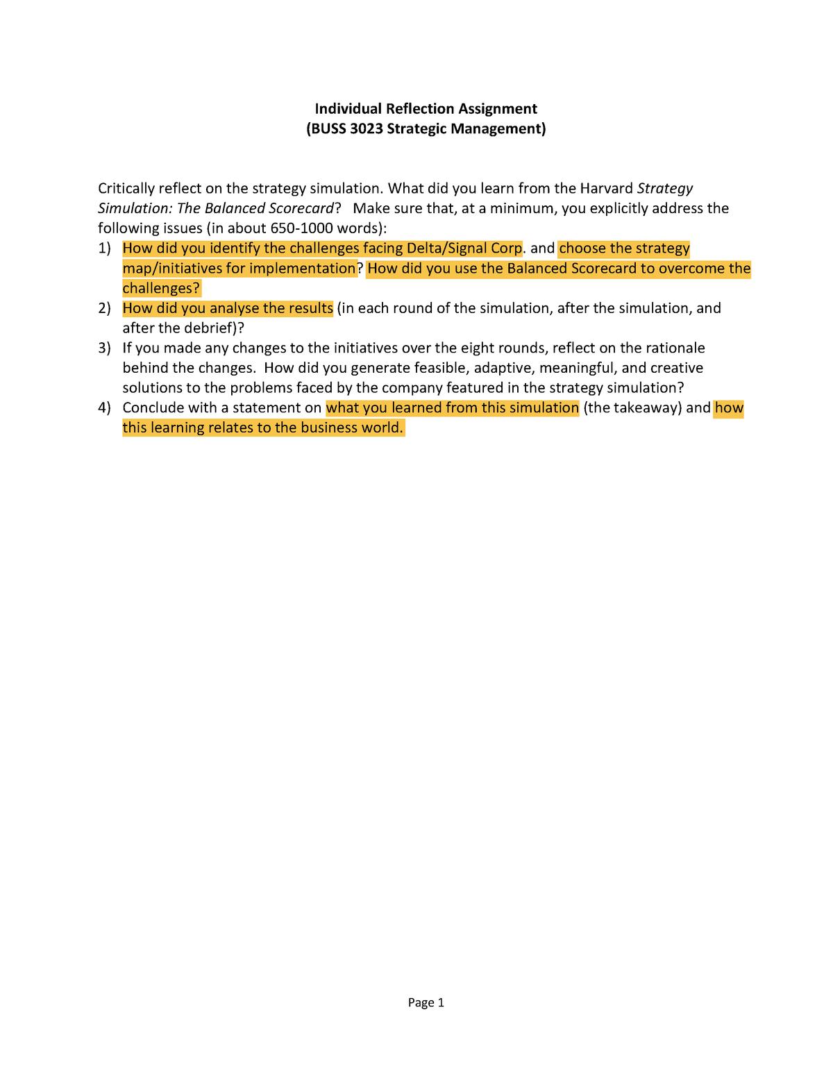 Reflection Harvard Simulation - BUSS 3023 - UniSA - StuDocu