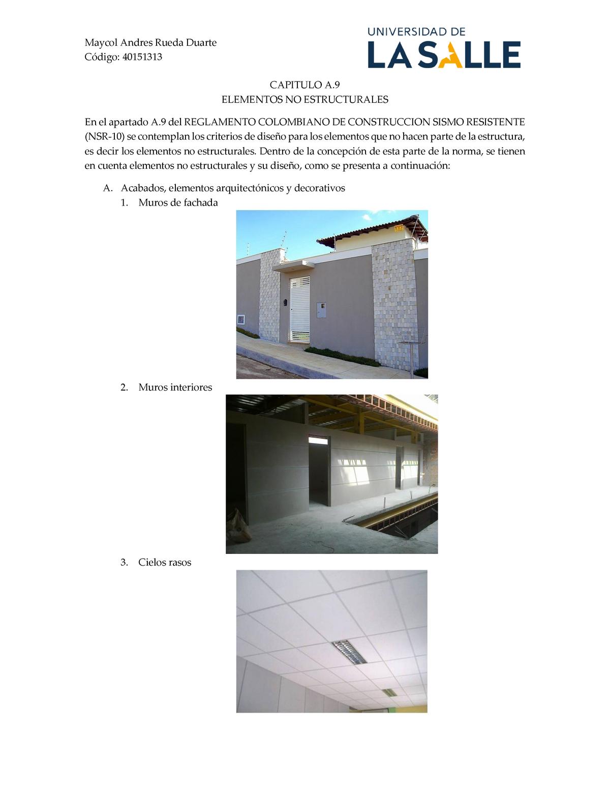 Elementos No Estructurales Diseño Estructural Unisalle