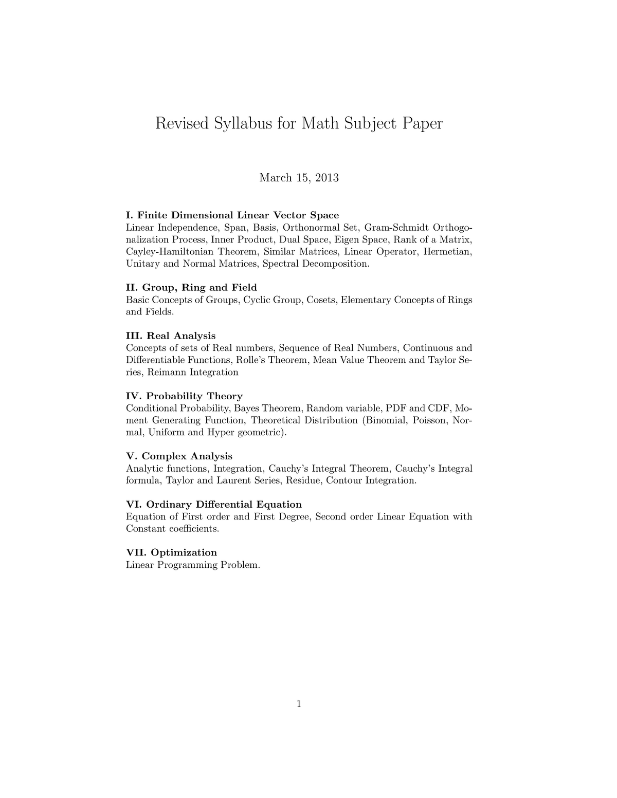 Maths revised syllabus - Mathematics 1 MA101 - StuDocu
