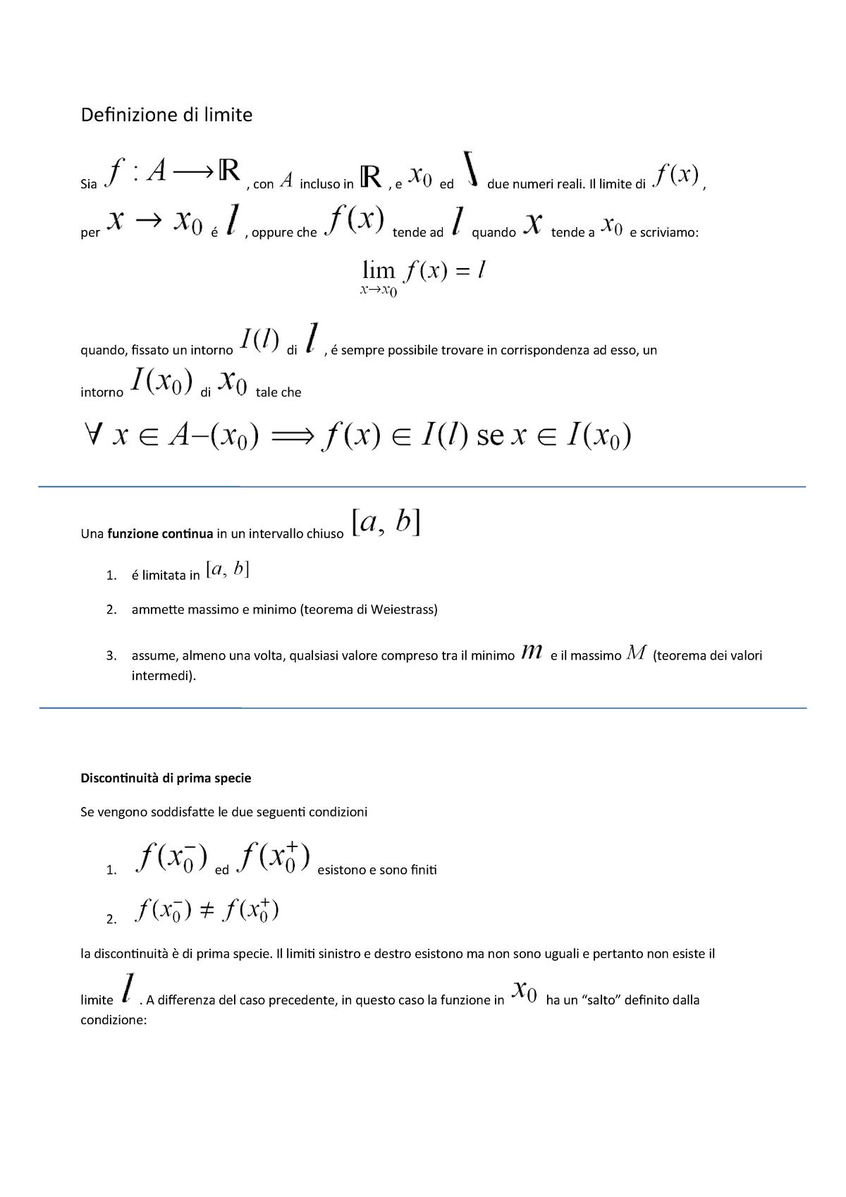 Teorema Dei Valori Intermedi.Definizione Di Limite Analisi Matematica Mfn0702 Unito