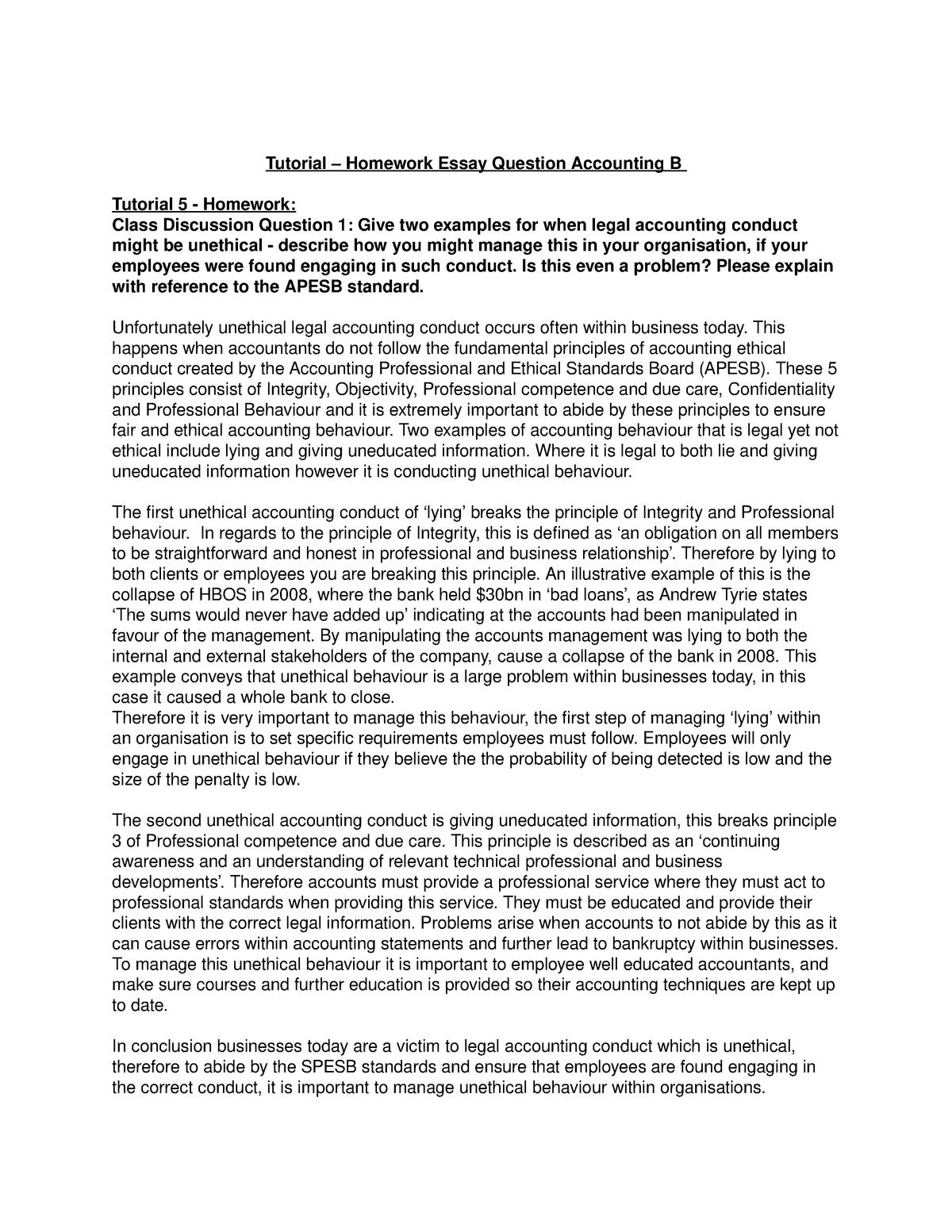 Tutorial – Homework Essay Questions Accounting B - 22207
