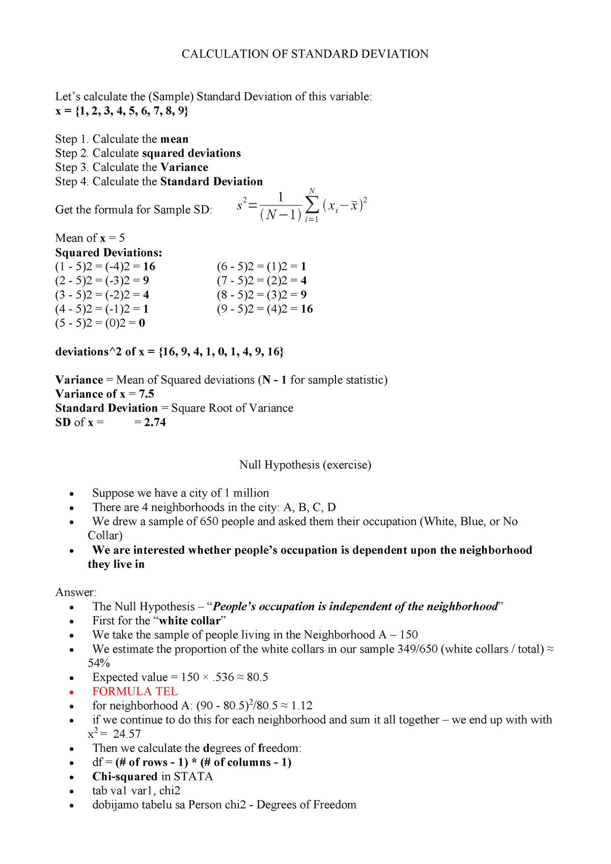 Calculation OF Standard Deviation 200018 Uni Wien StuDocu