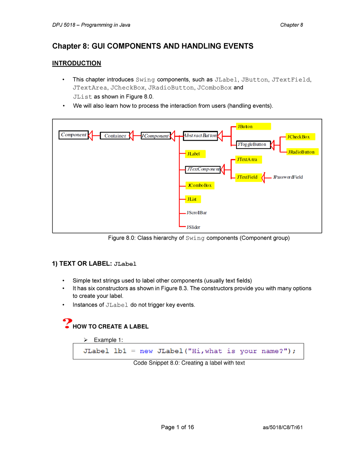 123015 Chapter 8 Lecture Note - Programming in Java - StuDocu
