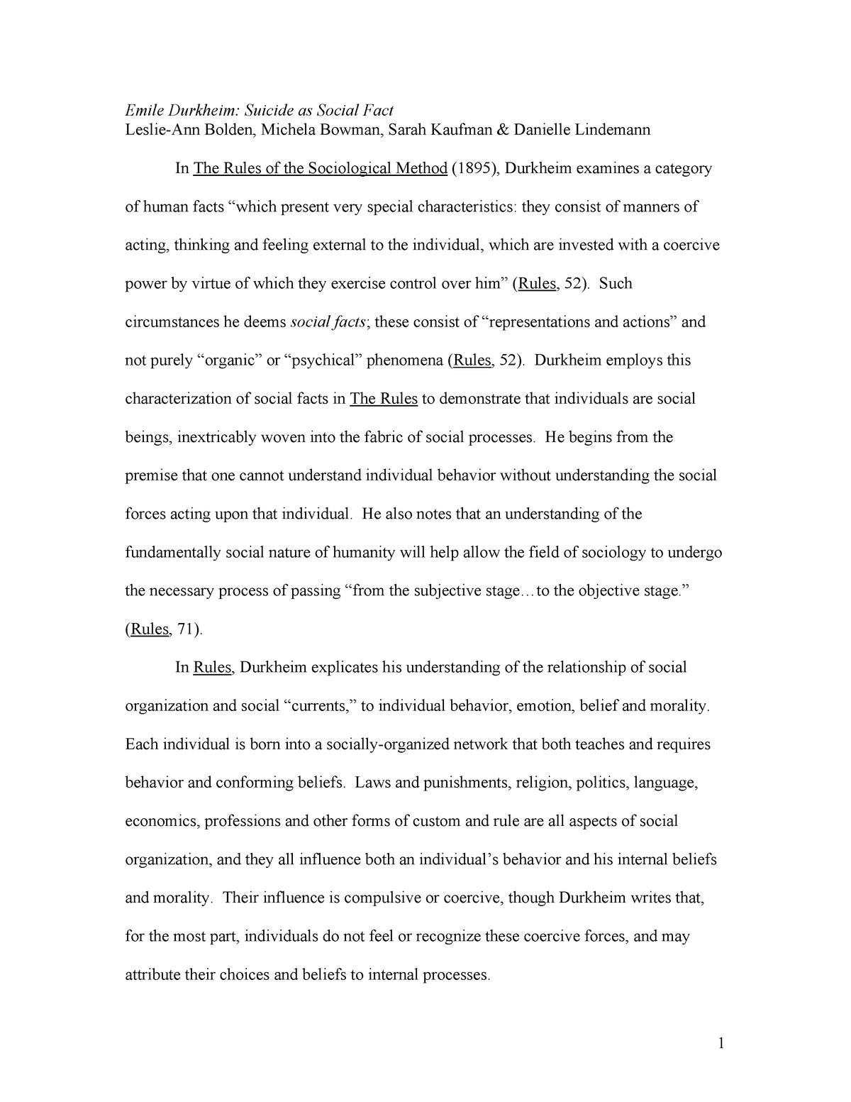 The Rules of Sociological Method - StuDocu Summary Library