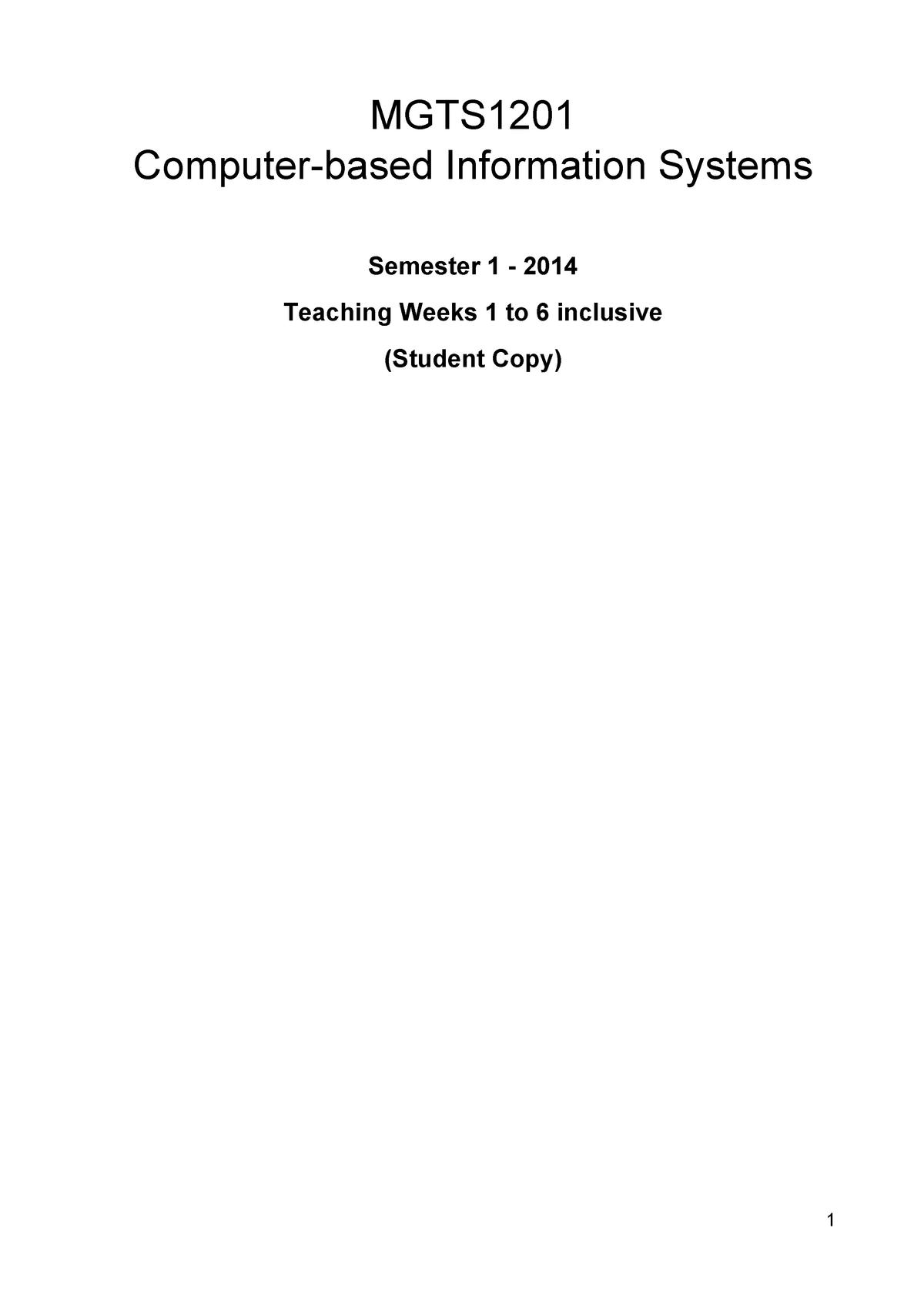 Tutorial work - week 1 - 6 - MGTS1201: Computer-Based