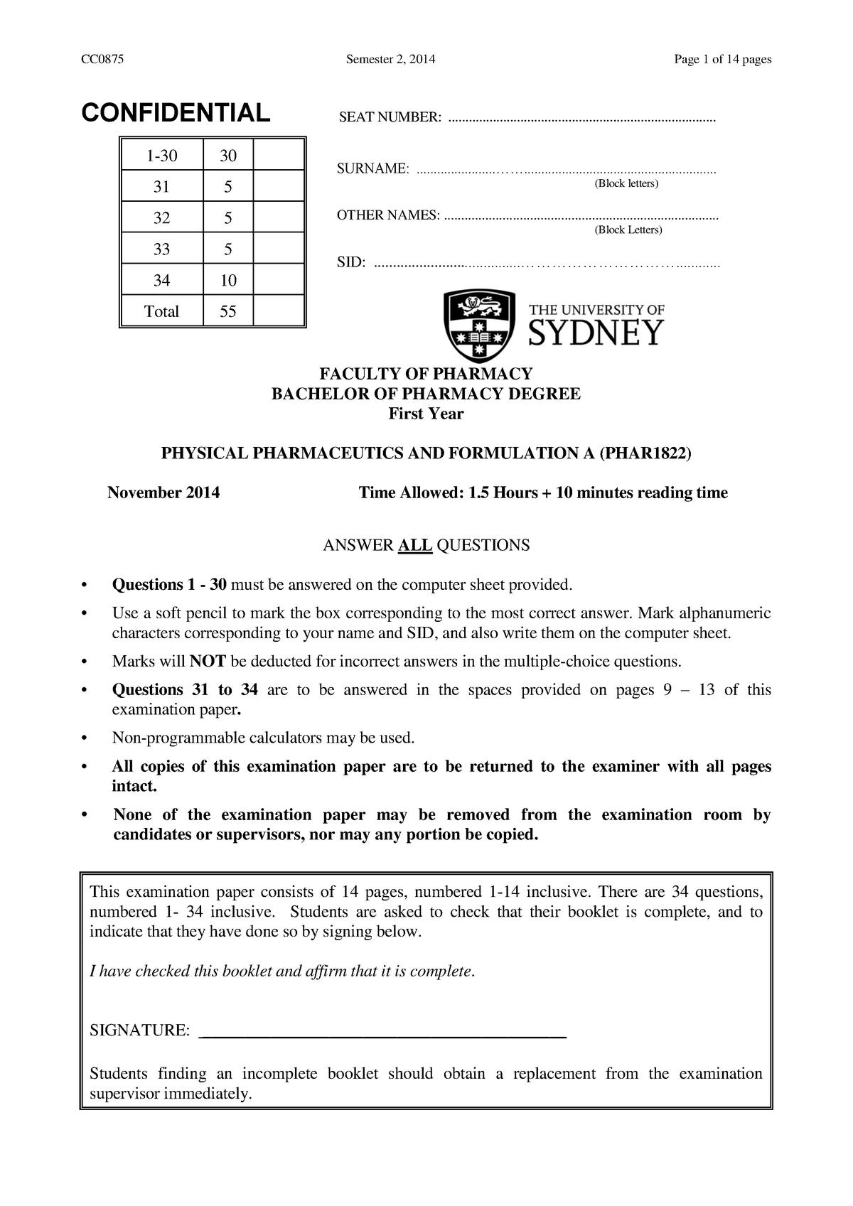 Exam 2014 - PHAR1822: Physical Pharmaceutics and Formulation A - StuDocu