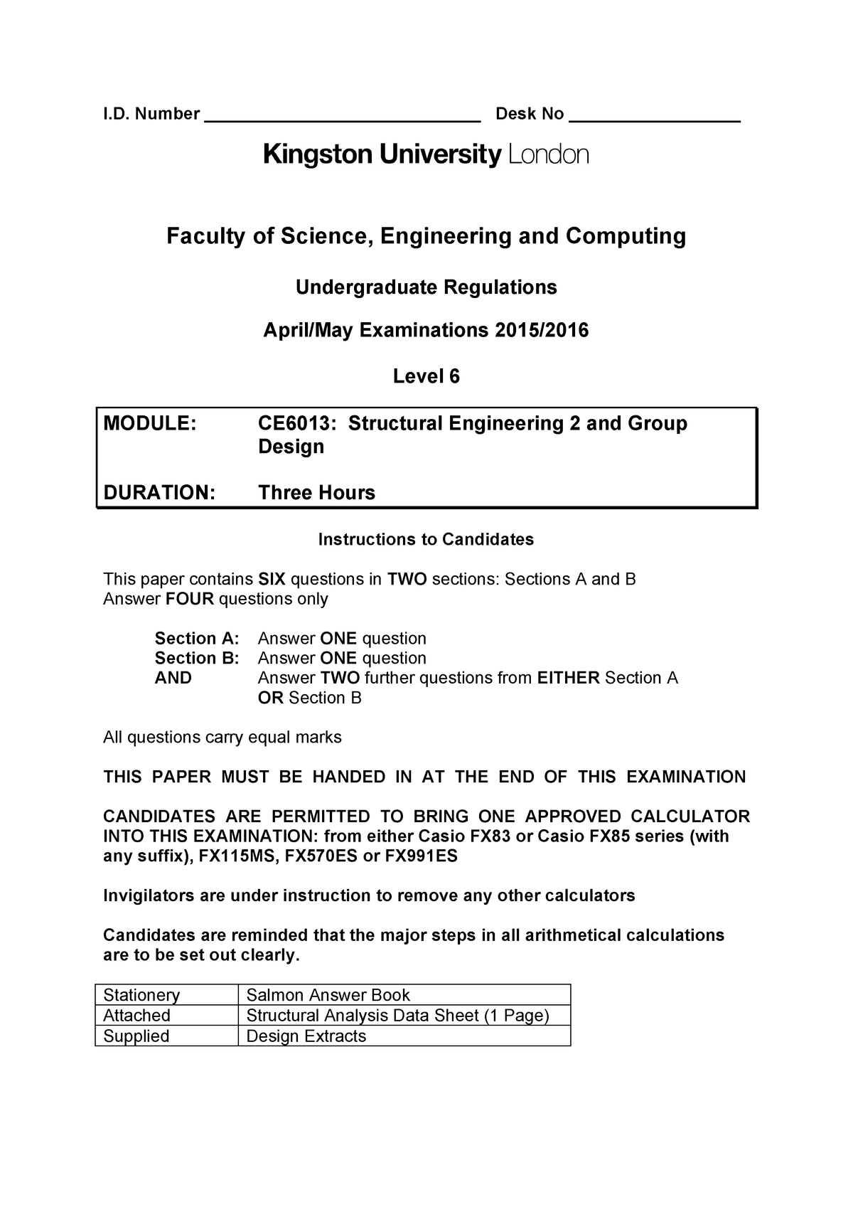 Exam 2016 - CE6013: Structural Engineering 2 and Group