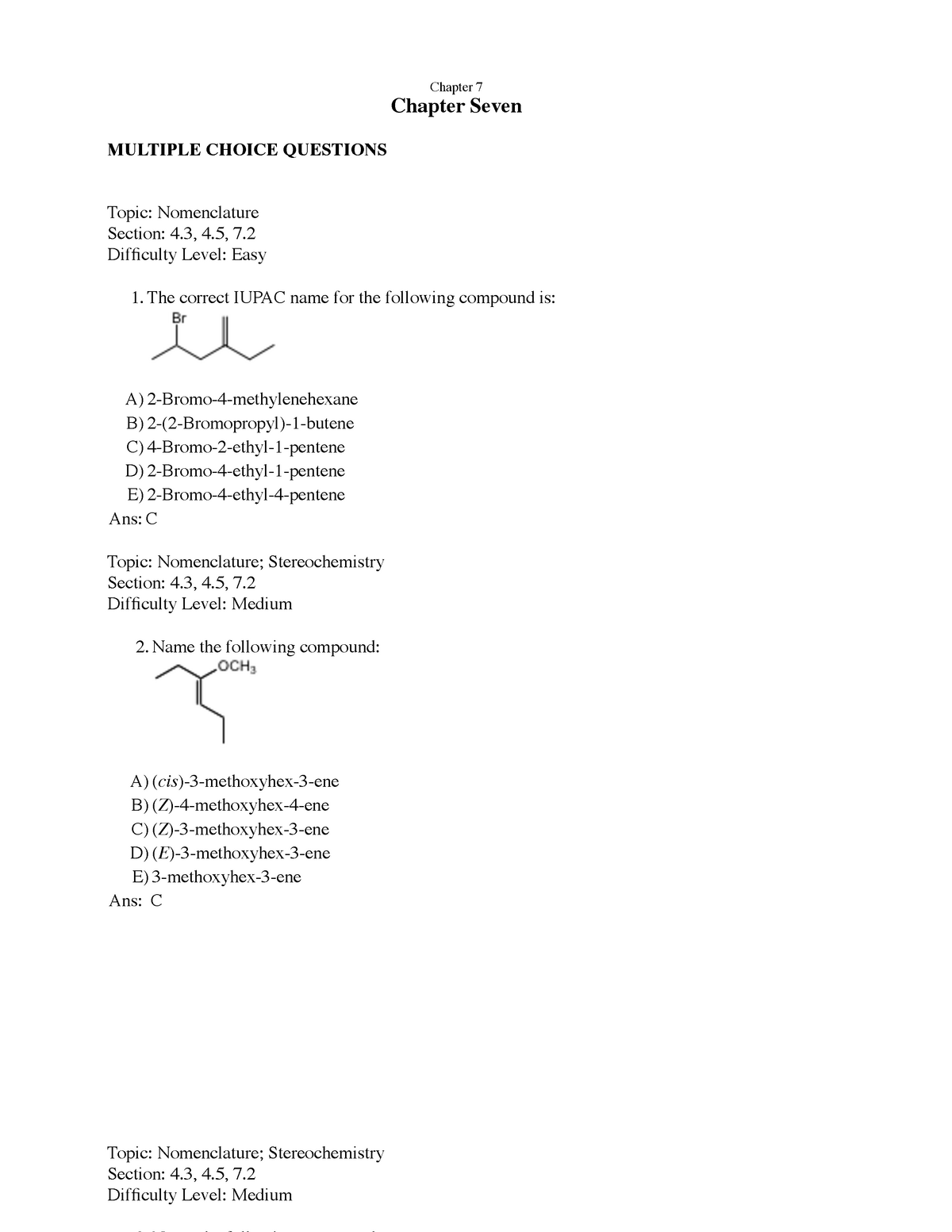 Chapter 7 TEST BANK - Chem 281: General Organic Chemistry I