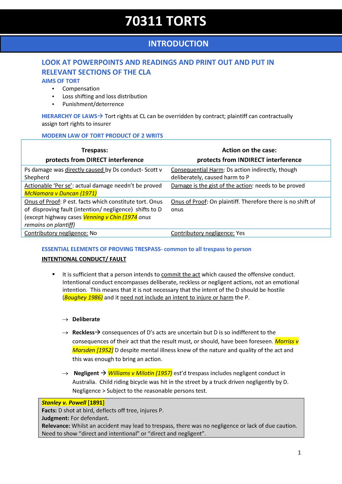 Torts Exam Notes - 070311 - UTS - StuDocu