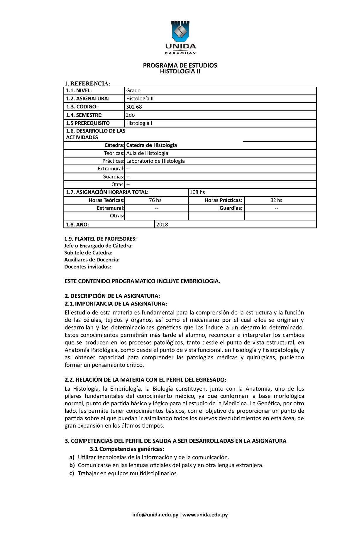 Histología Ii Programa Udec Studocu