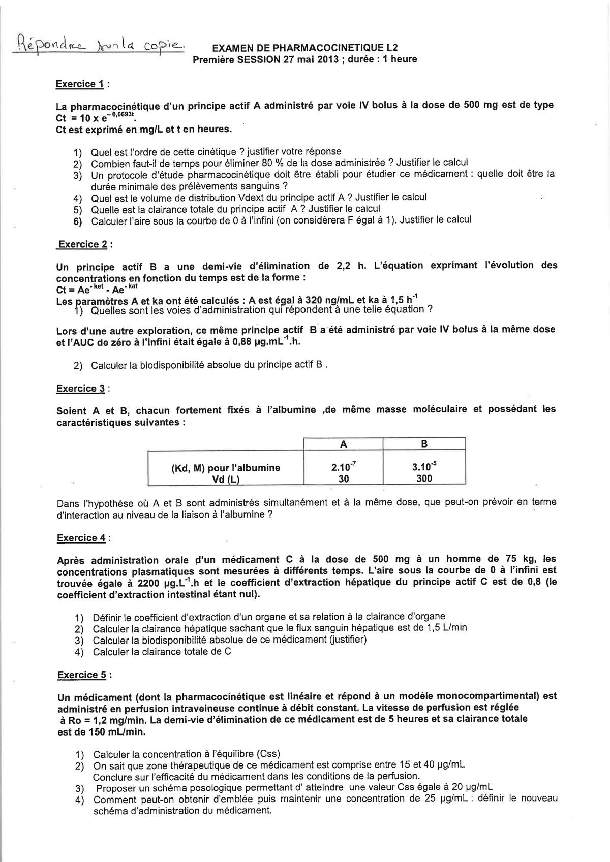Examen 27 Mai 2013 Questions Sciences Pharmacologiques Studocu