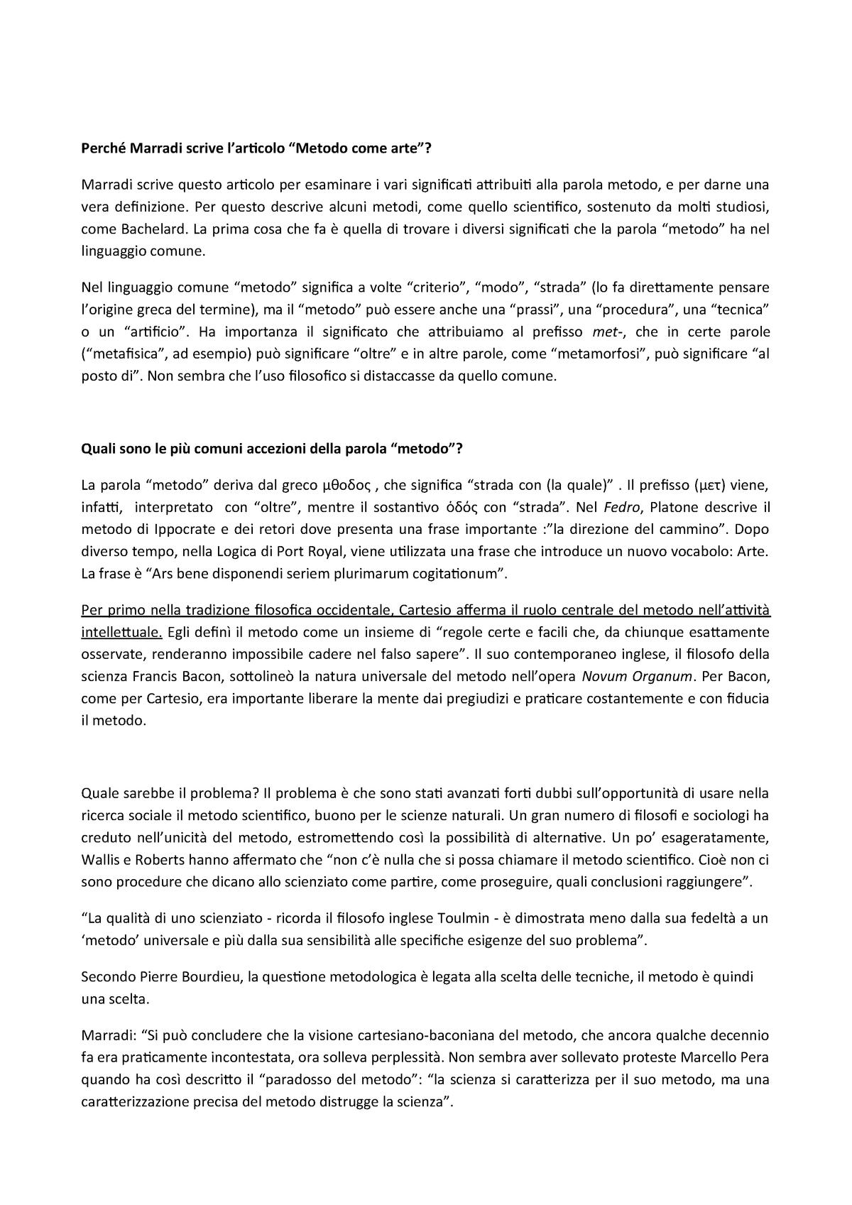 Appunti e sintesi del saggio di Marradi, Metodo come arte