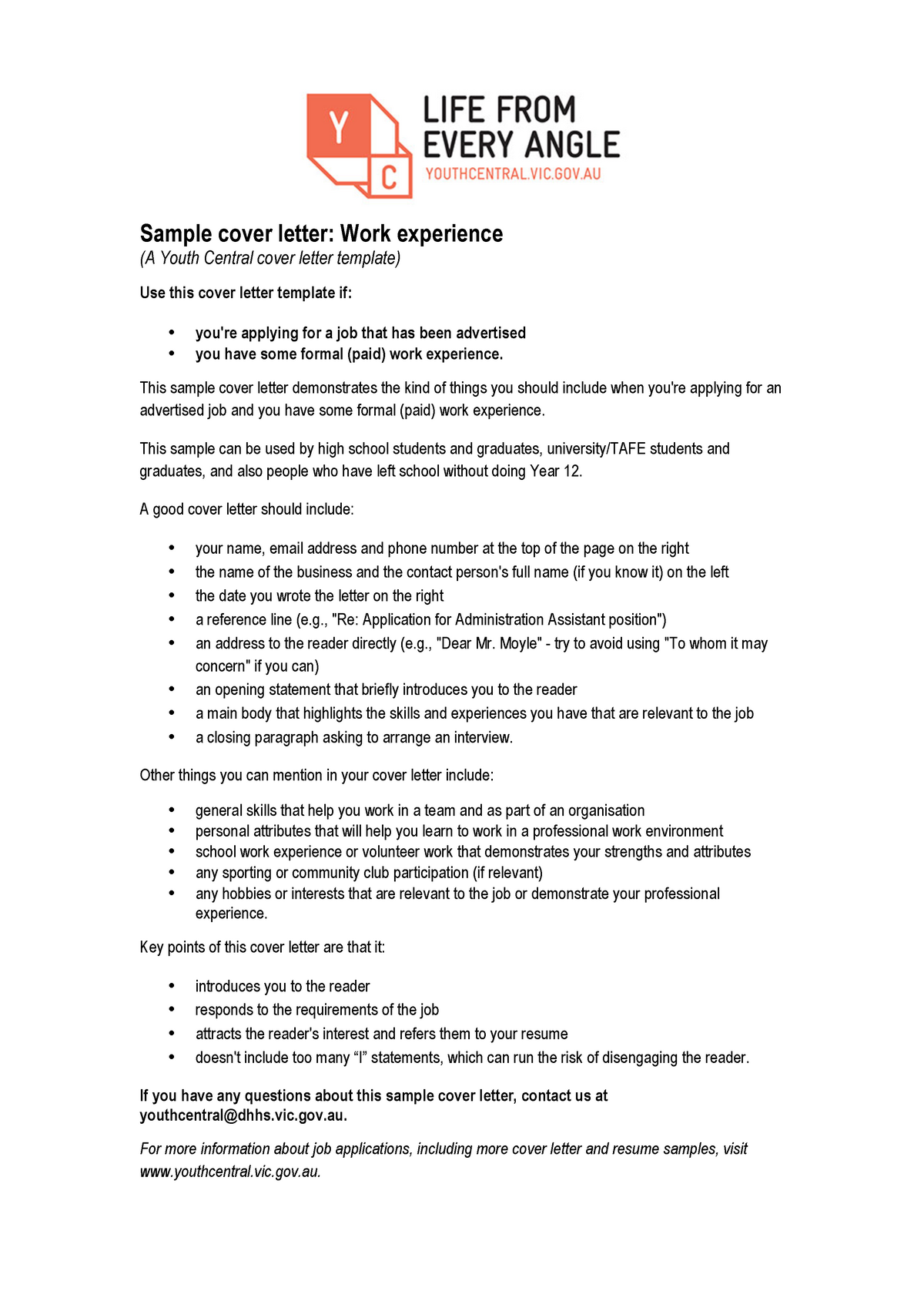 Youth Central Cover Letter Work Experience - 7503BPS - StuDocu