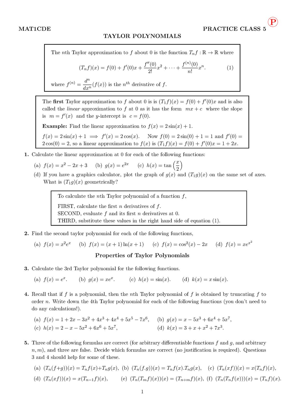 Practical - 5, with solutions - MAT1CDE: Calculus And Differential
