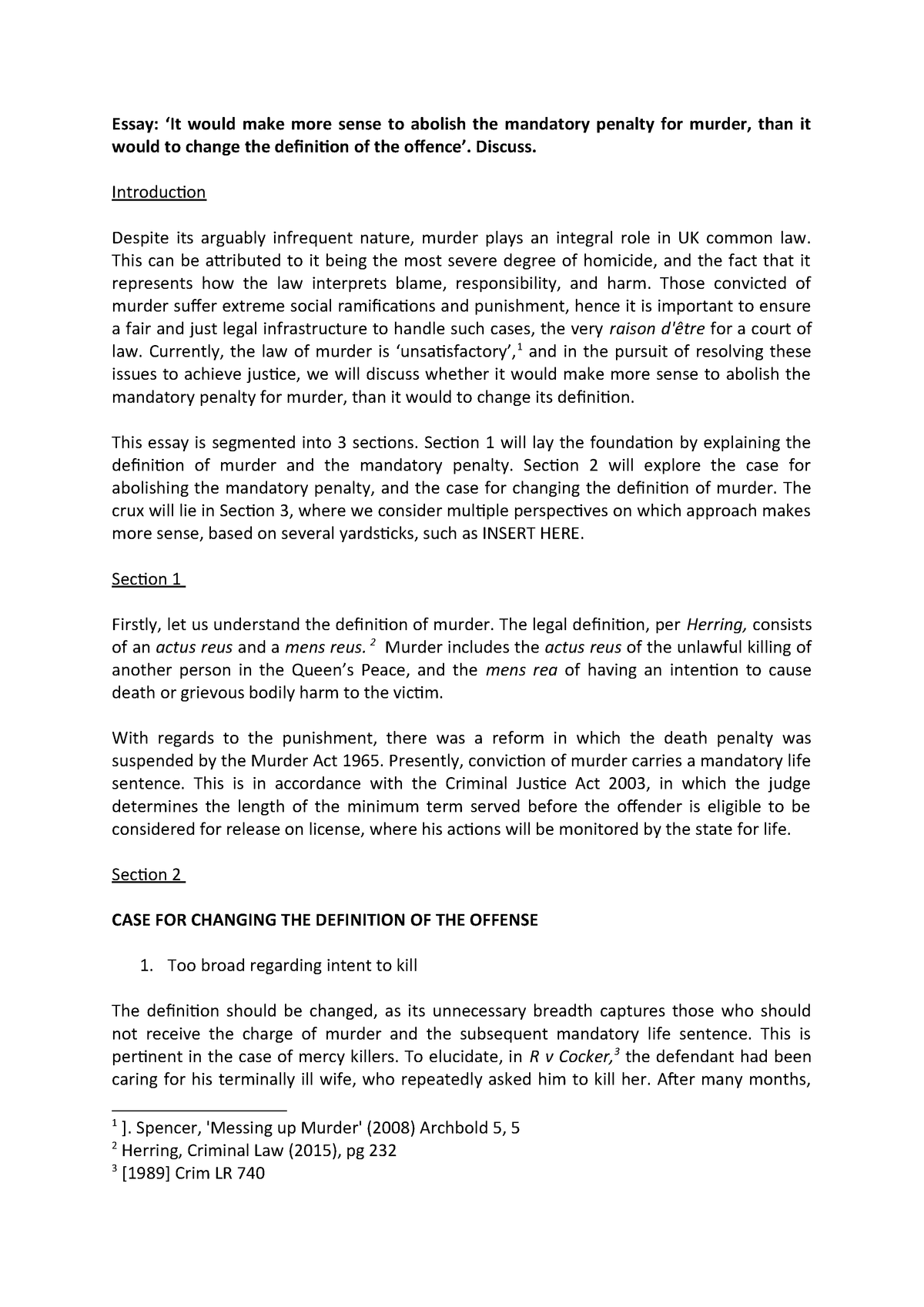 critical analysis law essay example