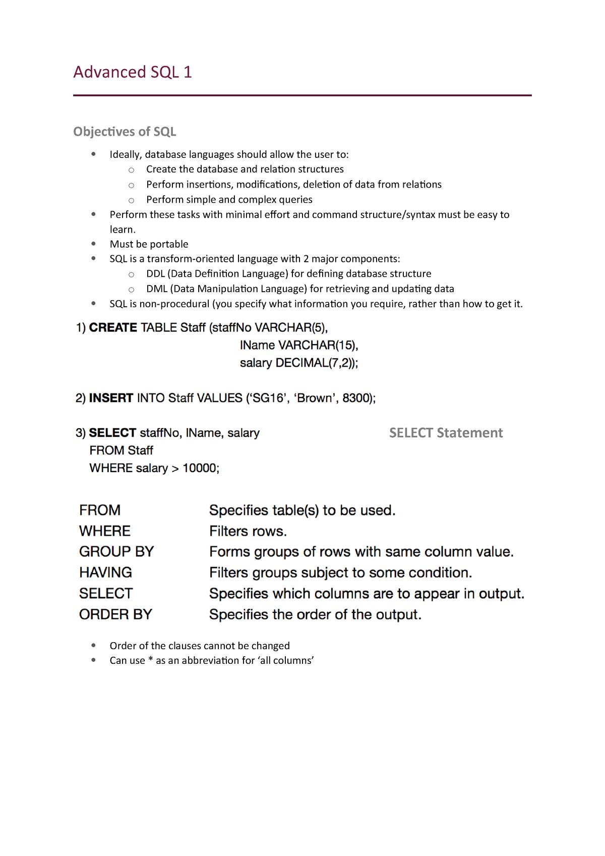 INFS2608 Lecture Notes - SQL - INFS2608: Enterprise Database