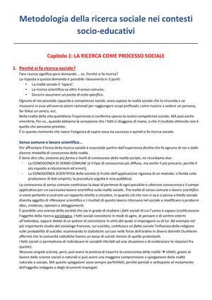 Summary Metodologia della ricerca sociale nei contesti socioeducativi 01  Oct 2018 - StuDocu 73a2a944865f