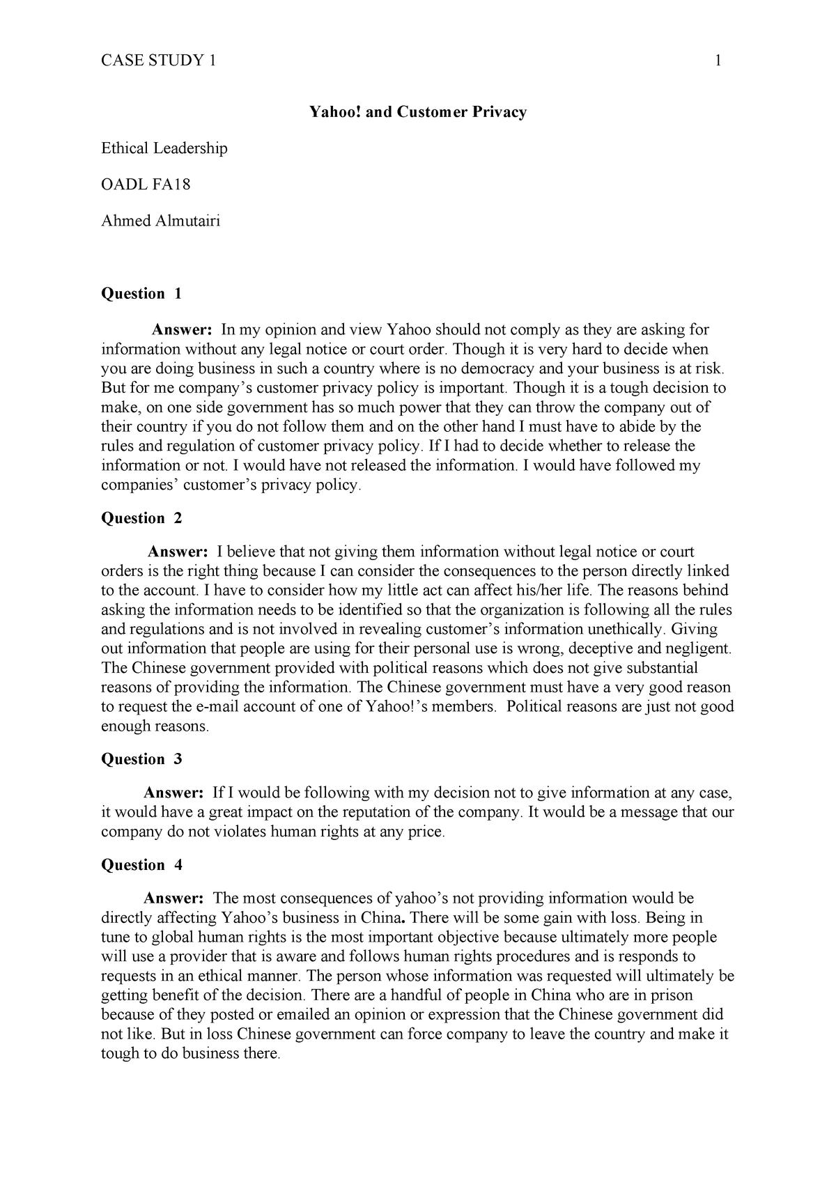 Yahoo CASE Study Ahmed Almutairi - OADL FA18: Ethical