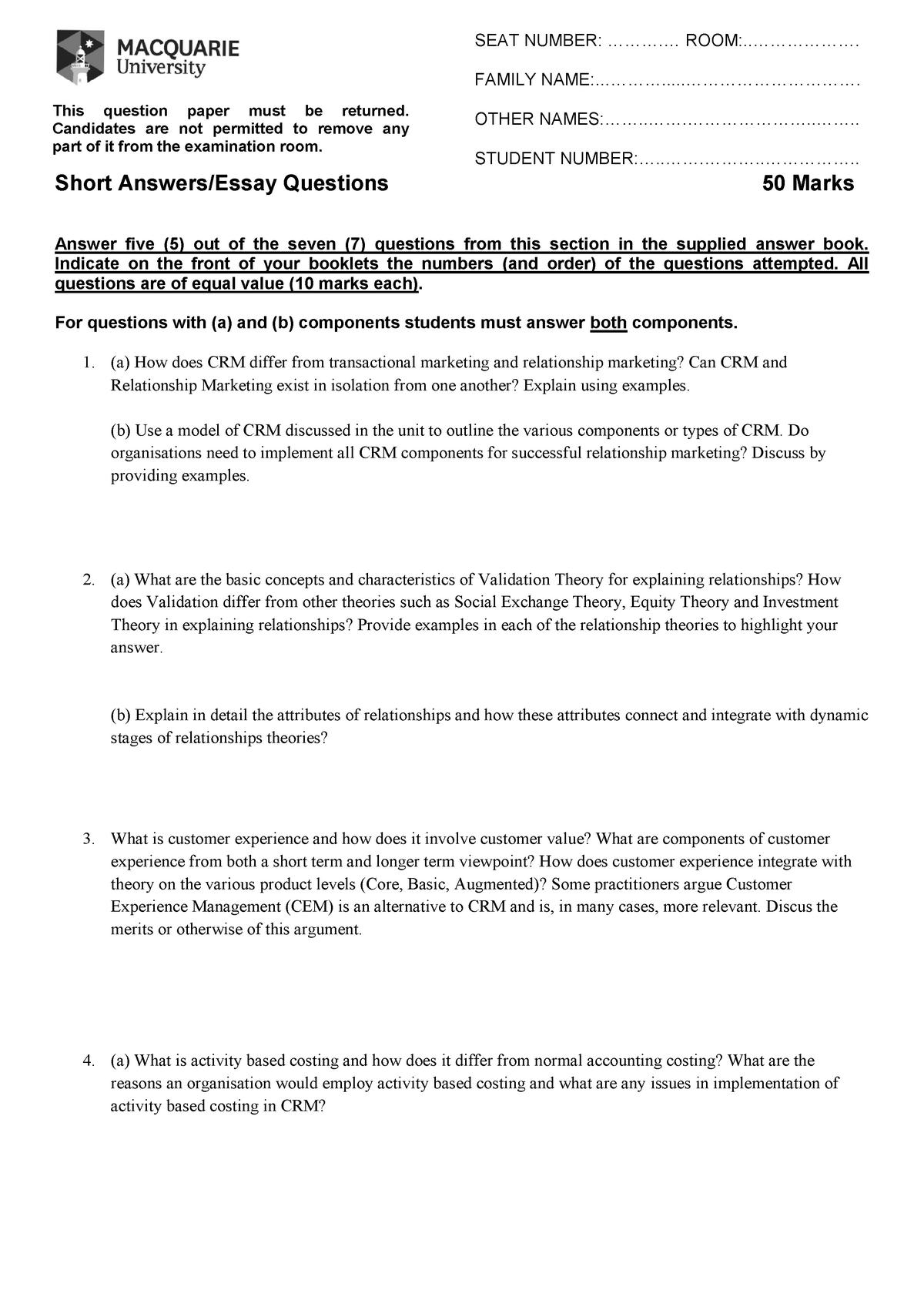Final exam 2015, questions and answers - MKTG207 - MQ - StuDocu