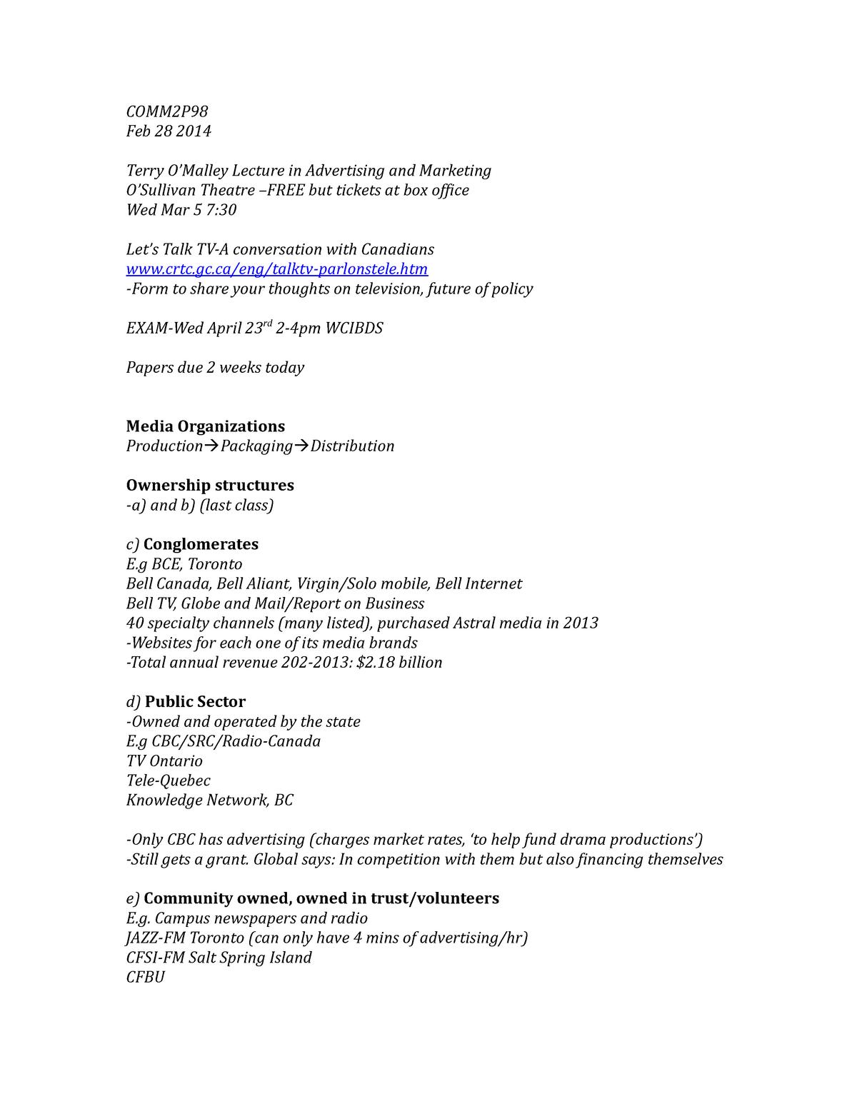 COMM2P98Feb28 - COMM/PCUL/SOCI 2P98: Media Industries 2013