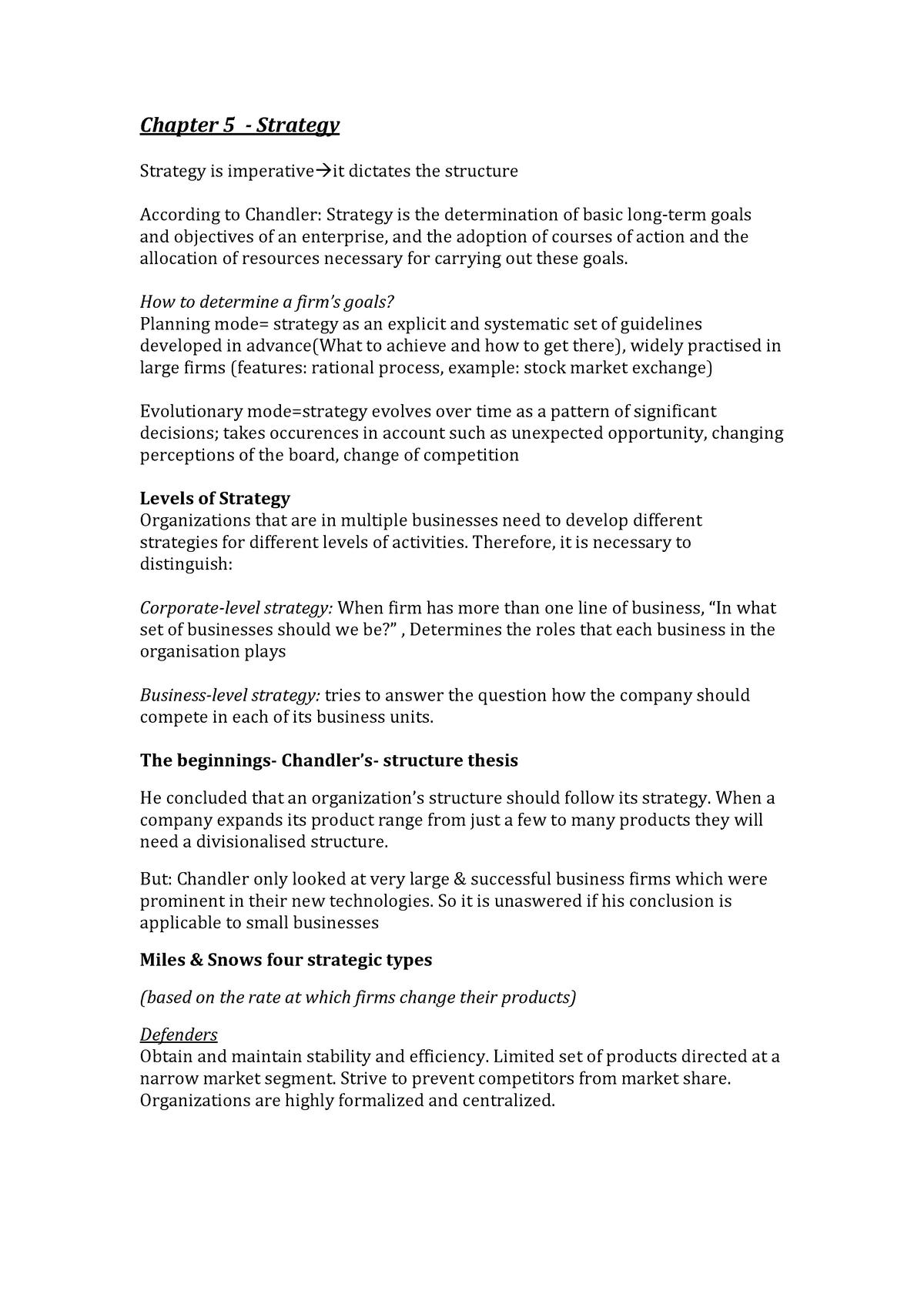 Summary Organizational Structure - Chapter 5 - EBP670C05