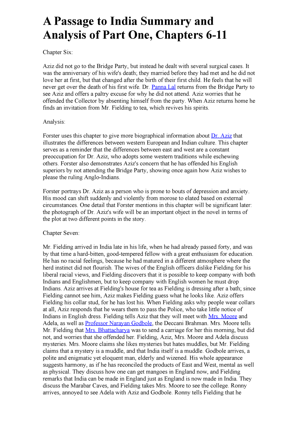 A Passage to India Summary and Analysis of Part One (-11) - - StuDocu